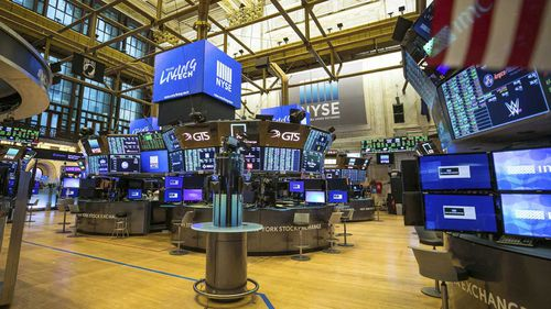 The unoccupied NYSE trading floor, closed temporarily for the first time in 228 years as a result of coronavirus concerns.