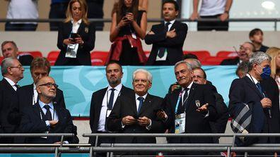 Sergio Mattarella, President of Italy and Gabriele Gravina, Italian Football Federation President (R) look on prior to Euro2020.