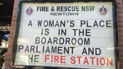 Sydney fire crew shows support for Australian women with empowering station sign