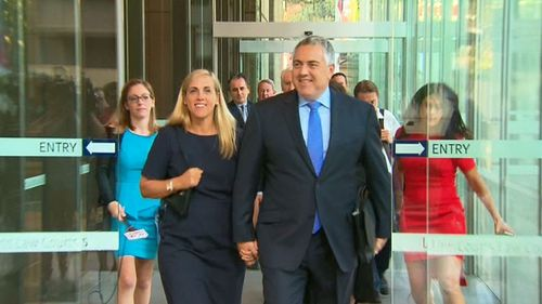 Joe Hockey and wife Melissa outside court. (9NEWS)