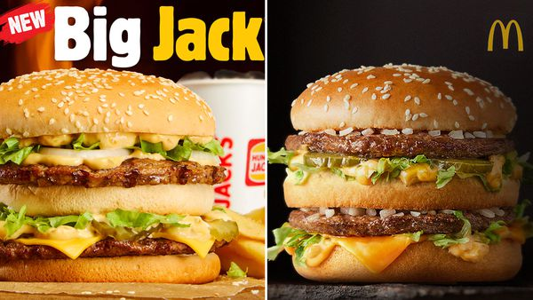 Hungry Jack's new Big Jack Burger / McDonald's Big Mac burger
