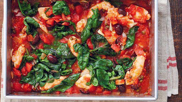 One pan chicken puttanesca