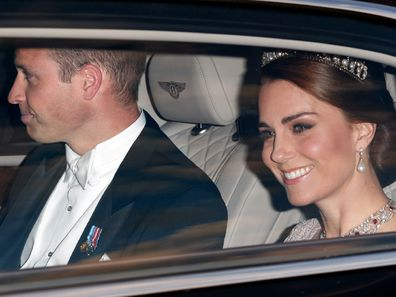 Prince William and Kate Middleton in a car