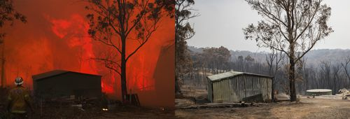 In 2013 the State Mine fire nearly destroyed Paul Fosse's home in Dargan on the Bells Line of Road and on the right, the aftermath on Christmas Eve of the Gospers Mountain fire at the same location where this time the home was lost.
