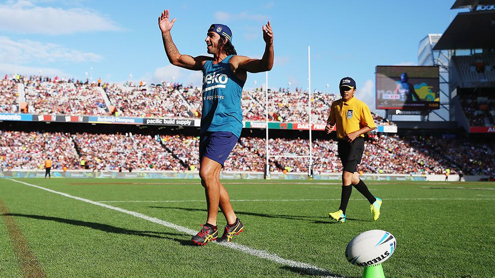 Johnathan Thurston at the Auckland Nines last year. (Getty)