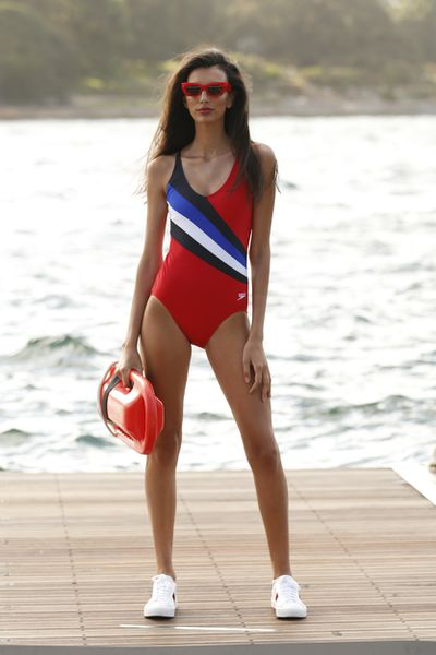 """Speedo '70s one-piece, $100 at <a href=""""https://www.theiconic.com.au/70-s-one-piece-565204.html"""" target=""""_blank"""">The Iconic</a>."""