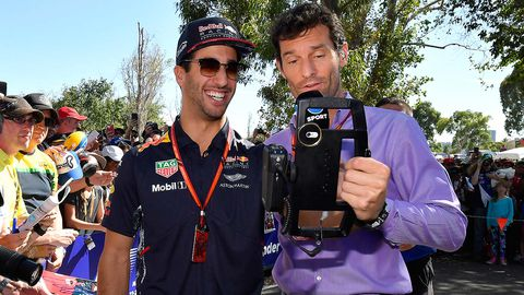 Red Bull driver Daniel Ricciardo, interviewed by former Formula One driver Mark Webber