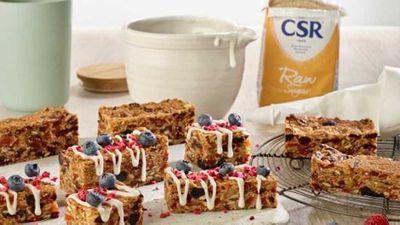 "Recipe: <a href=""http://kitchen.nine.com.au/2018/01/15/16/15/muesli-bar-slice-with-yoghurt-drizzle"" target=""_top"">Muesli bar slice</a>with yogurt drizzle"