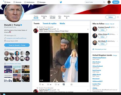 Donald Trump caused an international uproar when he retweeted three tweets by far-right group Britain First, which depicted unverified footage of Muslim violence.  (AAP/Twitter)