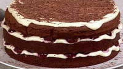 """Recipe:<a href=""""https://kitchen.nine.com.au/2016/05/18/11/47/black-forest-cake-pamela-clark-aww-test-kitchen"""" target=""""_top"""">Black Forest Cake</a>"""