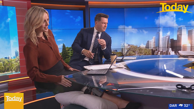 Today host Ally Langdon showed her knee brace as she kept her knee elevated.