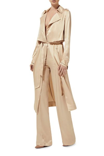 "Misha collection silk trench, $420 at <a href=""https://www.myer.com.au/shop/mystore/coats/misha-collection-gelloma-silk-trench"" target=""_blank"">Myer</a><br />"