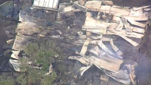 At least 12 homes have been destroyed by the blaze: a flattened home in Camperdown. (9NEWS)