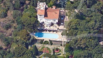 Aerial shot of Elton John's home in Nice France.