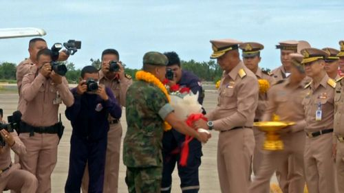 Thai Navy SEALs receive a hero's welcome following cave rescue. Picture: Supplied