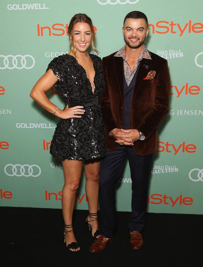 Guy and Jules Sebastian in Lillian Khallouf at the 2018 <em>InStyle and Audi Women of Style</em> awards
