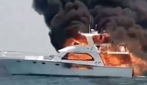 The family were forced to jump off the boat into the water off Perth.