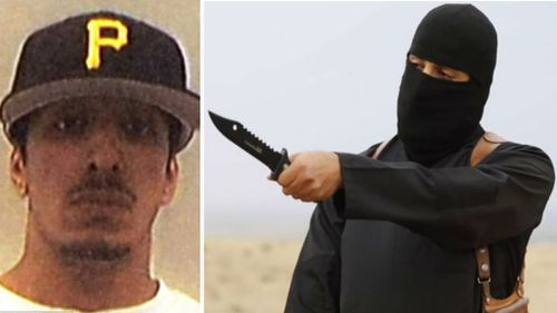 A photo of Mohammed Emwazi (left) and dressed as Jihadi John (right).
