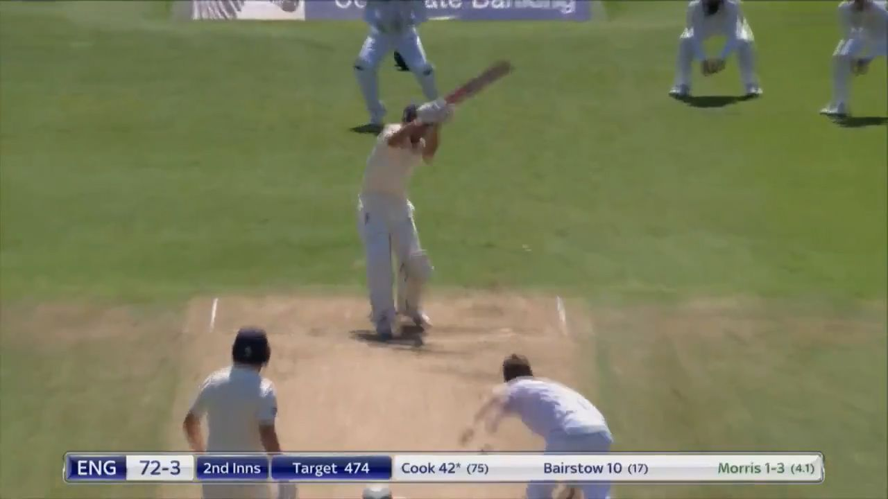 Alastair Cook is dismissed by Chris Morris.