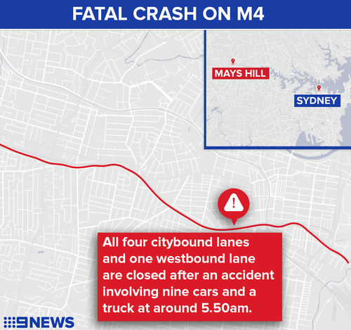 Tradie killed on way to work in ten-vehicle M4 crash