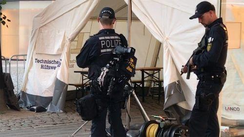 Police patrol the streets of Hamburg. (Seb Costello)
