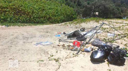 Teewah Beach Noosa camping rubbish dumpers
