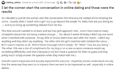 Man talks about online dating on Reddit thread.