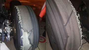 "The plane tyre ""delaminated"" and punctured the wing flap panel. (ATSB)"