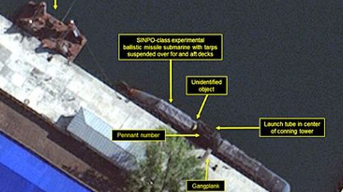 A satellite image from the expert website 38 North showing the Sinpo shipyard in North Korea. (Photo: Facebook).