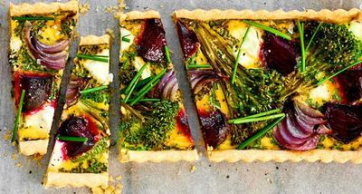 "Recipe:&nbsp;<a href=""http://kitchen.nine.com.au/2017/05/24/11/24/beetroot-broccoli-goats-cheese-and-chive-tart"" target=""_top"">Beetroot, broccoli, goat's cheese and chive tart</a>"
