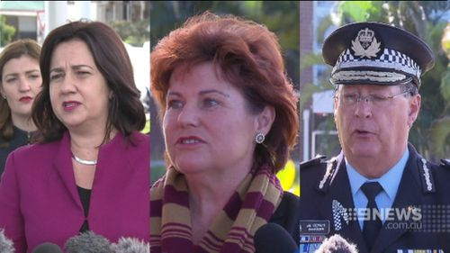 Annastacia Palaszczuk, Jo-Ann Miller and Ian Stewart are embroiled in controversy over an Ipswich police centre. (9NEWS)