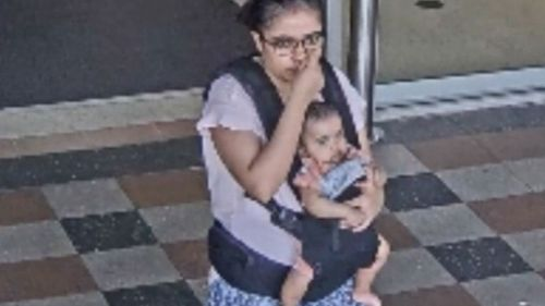 The baby can be seen alive and well in this CCTV footage released by police.