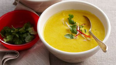 """Recipe:<a href=""""http://kitchen.nine.com.au/2016/05/13/13/21/thaistyle-pumpkin-soup"""" target=""""_top"""" draggable=""""false"""">Thai-style pumpkin soup<br> </a>"""
