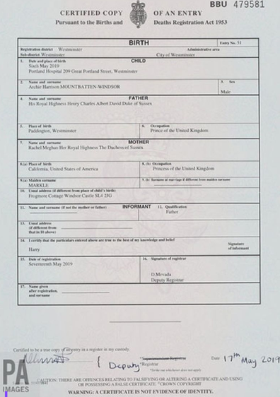 Archie's birth certificate was released by Buckingham Palace.