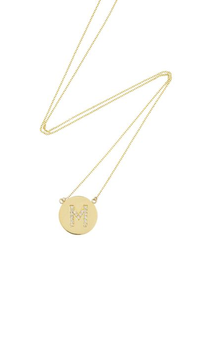 "<p><a href=""http://www.net-a-porter.com/product/367997"" target=""_blank"">18-Karat Gold Diamond Letter Necklace, $2,235, Jennifer Meyer</a></p>"