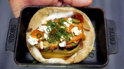 Wes Avila's sweet potato tacos with almond salsa