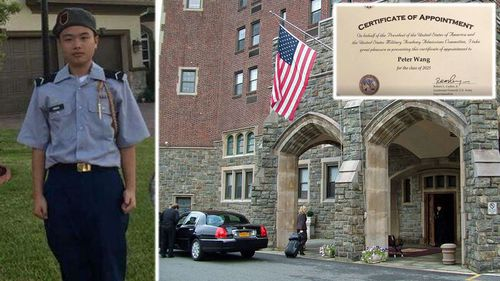 Peter Wang in his cadet uniform who has been posthumously accepted into West Point Academy. (Photos: Facebook and AP).