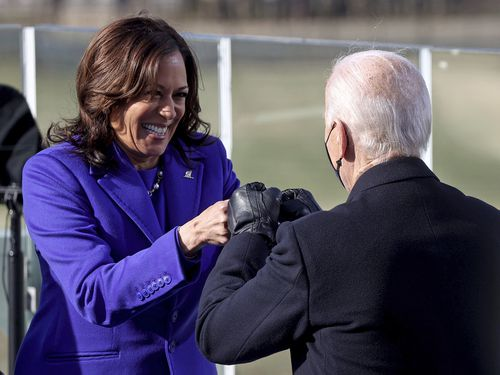 Vice President Kamala Harris bumps fists with President-elect Joe Biden after she was sworn in during the inauguration, Wednesday, Jan. 20, 2021, at the U.S. Capitol in Washington. (Jonathan Ernst/Pool Photo via AP)