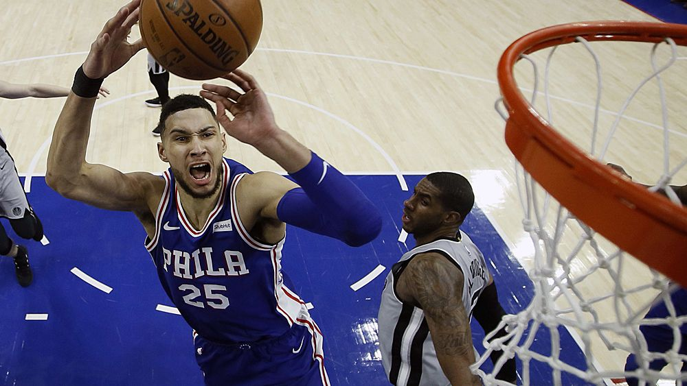 NBA: Ben Simmons takes on fellow Aussie Patty Mills in 76ers vs Spurs thriller