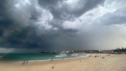 Storm clouds roll over Bondi beach on Friday afternoon.