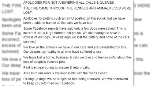 The statement posted on the Facebook page for Tea Tree Gully Boarding Kennels and Cattery. (Facebook)