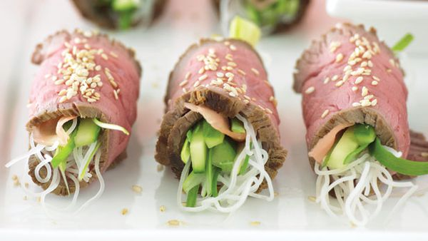 Beef and noodle rolls