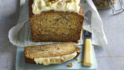 "Recipe:&nbsp;<a href=""http://kitchen.nine.com.au/2017/08/08/14/13/one-bowl-banana-cake-with-cream-cheese-icing"" target=""_top"">One bowl banana cake with cream cheese icing</a>"