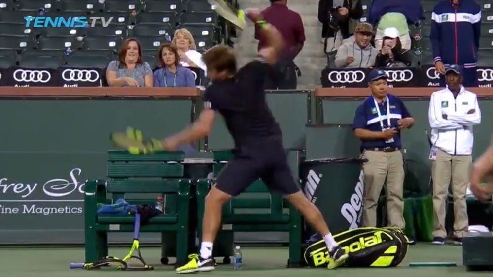 US tennis star Ryan Harrison has epic meltdown after losing at Indian Wells