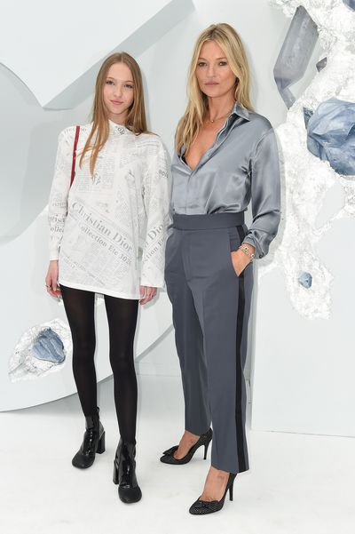 Kate Moss and Lila Hack wearing Dior at Dior Menswear show in Paris