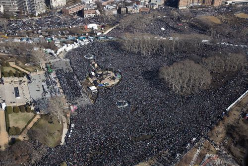 Fans gather in front of the Philadelphia Museum of Art as the Philadelphia Eagles football Super Bowl victory parade proceeds along the Benjamin Franklin Parkway (AAP).