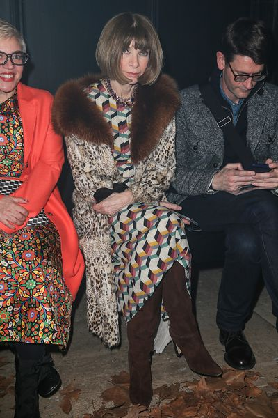 US Vogue editor Anna Wintour has been a lifelong fur fan, here in the front row.