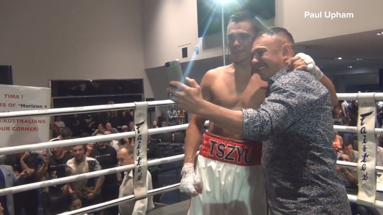 Tszyu celebrates first professional boxing win