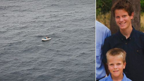 Jordan and Tyson Guerts spent the night floating in their dinghy after its fuel ran out. (9NEWS)