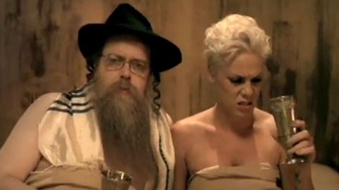 Pink and a rabbi in Raise Your Glass